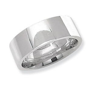 Flat Court Wedding Ring Solid Sterling Silver 8mm Band Size O Z eBay