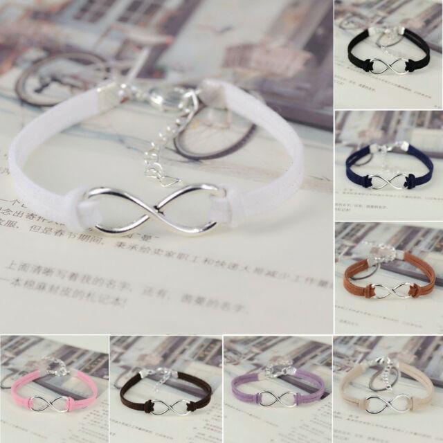 New Handmade Korea Silver Plated Infinity Friendship Leather Bracelet Bangle