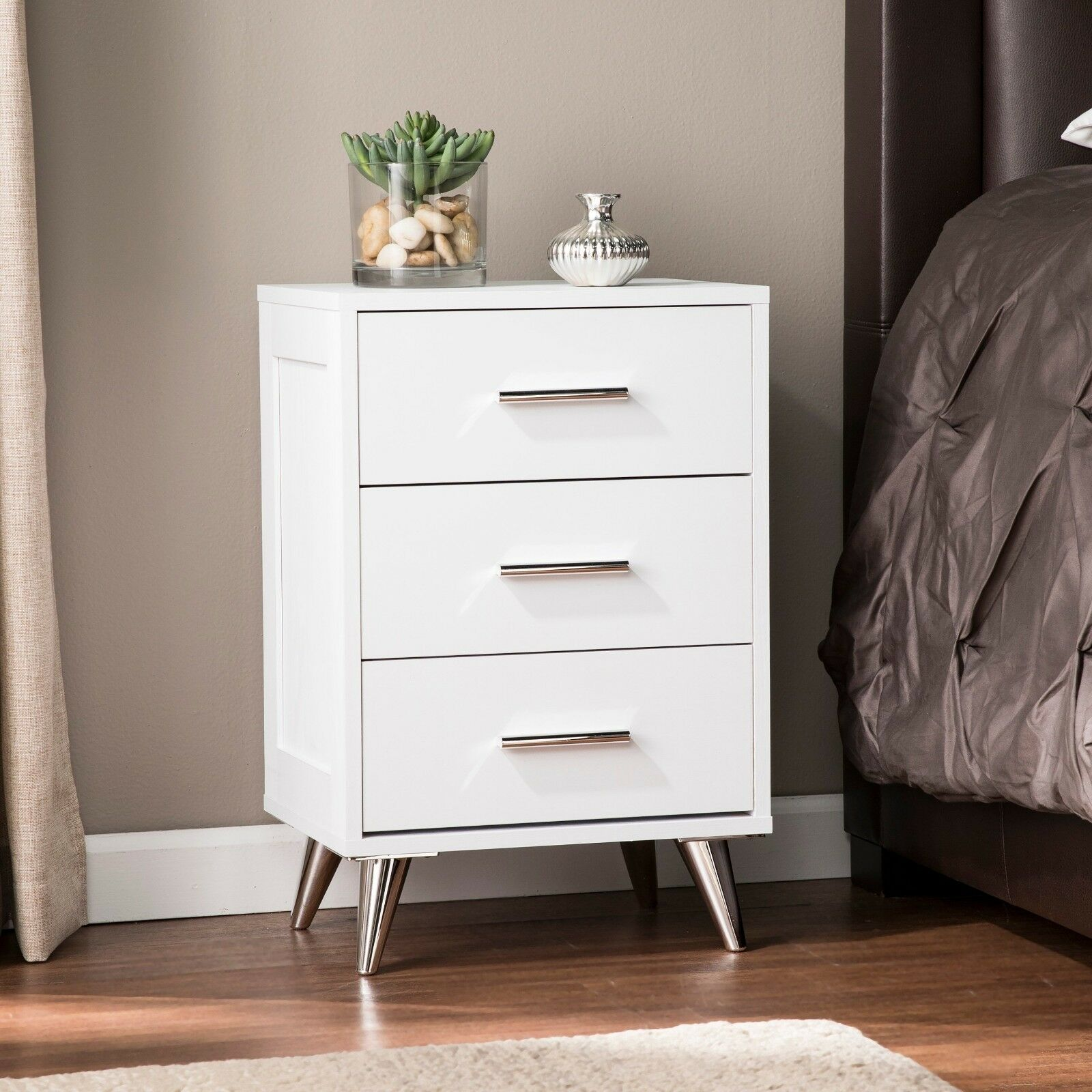 Mid Century Modern White Silver 3 Drawer Nightstand End Table Storage Chest