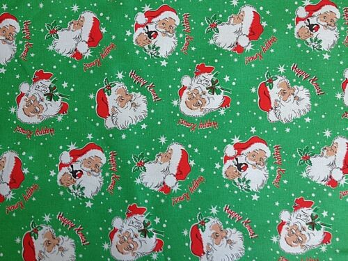100/% Cotton Duck Fabric Cut By Size Cath Kidston Santa Claus Merry Xmas Green