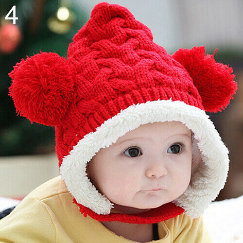 Baby Toddler Winter Beanie Warm Hat Hooded Scarf Earflap Knitted Cap Boys Girls