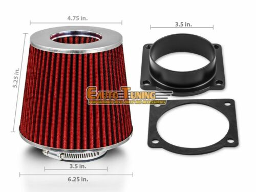 RED Filter For 95-96 F150 4.9L L6 Mass Air Flow Sensor Intake Adapter