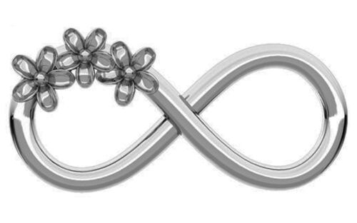 ONE STERLING SILVER INFINITY CHARM WITH FLOWER MOTIF 16 X 7 MM