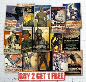 Vintage-High-Quality-German-WW1-World-War-1-Propaganda-Military-Posters-A5-A4-A3