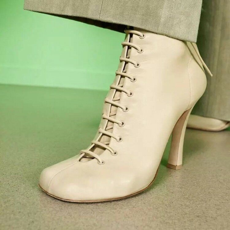 Womens Vogue Leather Square Toe Lace Up High Heel Zippers Ankle Boots shoes omgk