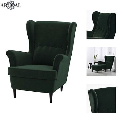 IKEA STRANDMON Wing Chair, High Back, In Dark Green (Stool Not Included) |  EBay