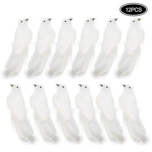 12-Pcs-Pure-White-Bird-Clip-on-Decoration-Dove-Feather-Christmas-Tree-Wedding