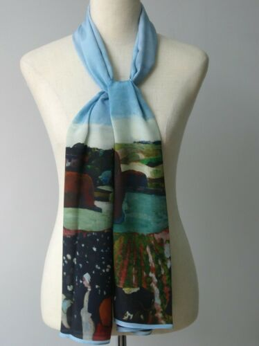 """Oblong 100/% Silk Scarf Oil Painting Paul Gauguin's """"Wheat Field with Cypresses"""""""
