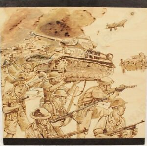 El-Alamein-Woodburning-Artwork-Bespoke-Handmade-Gift-Present-WW2-British