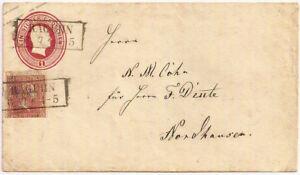 1860 S Prusse 1 Silber Pragois Entiers Postaux Env+1sg Timbre Raguhn Postmark-afficher Le Titre D'origine