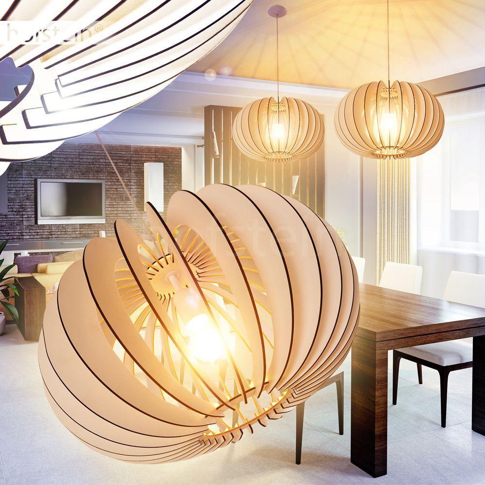 Retro Ess Wohn Schlaf Zimmer Beleuchtung Hänge Lampen Holz weiß Pendel Leuchten