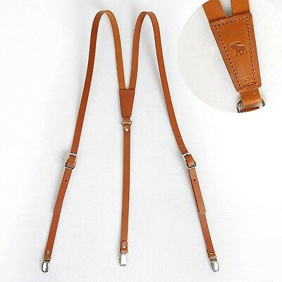 "Leather Suspenders Y-Back Retro Braces Clip-On Brown Cowhide 39""-43"" Mens Small"