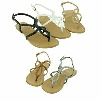 New Womens Gladiator Flat Sandal Braided Strap Thong Flip Flops Style Shoes Size