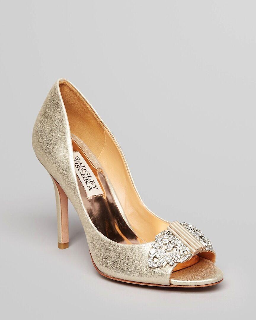 Nuevo En Caja Badgley Mischka Davida Cuero Deco Deco Deco Boda Nupcial abierto Bomba Zapatos oro 10  100% garantía genuina de contador