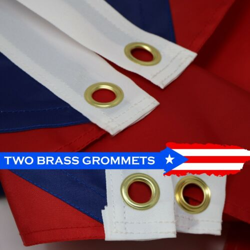 G128 Puerto Rico Flag US USA3x5 ftEmbroidered 210D Brass Grommets