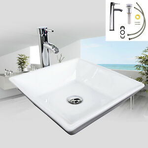 Image Is Loading Bathroom White Square Ceramic Vessel Sink Basin Chrome