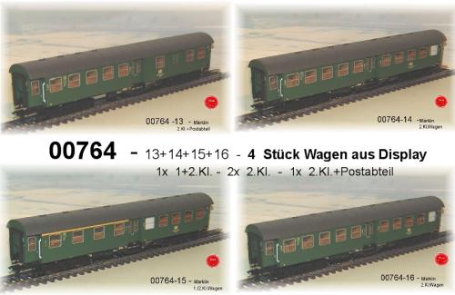 By Märklin 00764 Tag Train Augsburg 4 Passenger Cars of DB # New Original