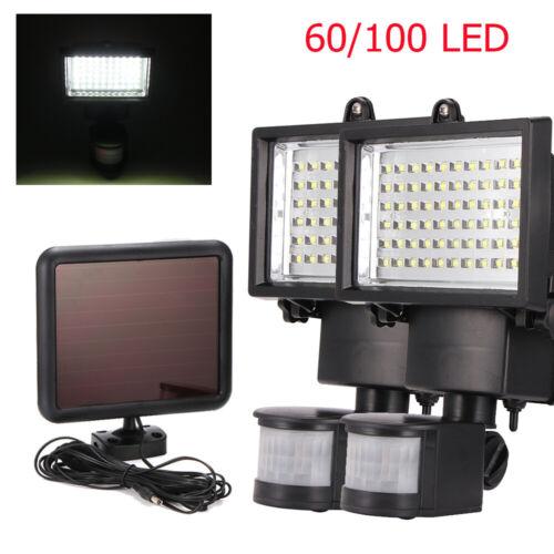 60//100 LED Solarleuchte Bewegungsmelder Solarstrahler Außenleuchte Gartenlampe