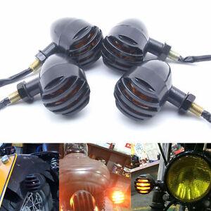4-Ambre-Clignotants-Mini-Noir-Bullet-Lumineux-clignotant-Pour-Moto-Harley