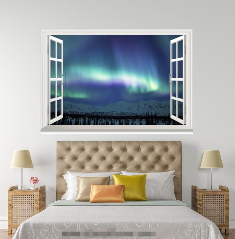 3D Aurora Night 889 Open Windows WallPaper Murals Wall Print Decal Deco AJ WALL