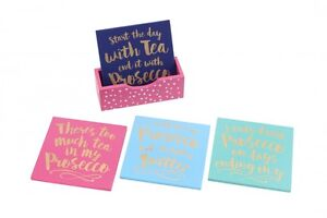 Set-of-4-Girls-Prosecco-Quotes-Drinks-Wooden-Coasters-amp-Tray-Novelty-Xmas-Gift