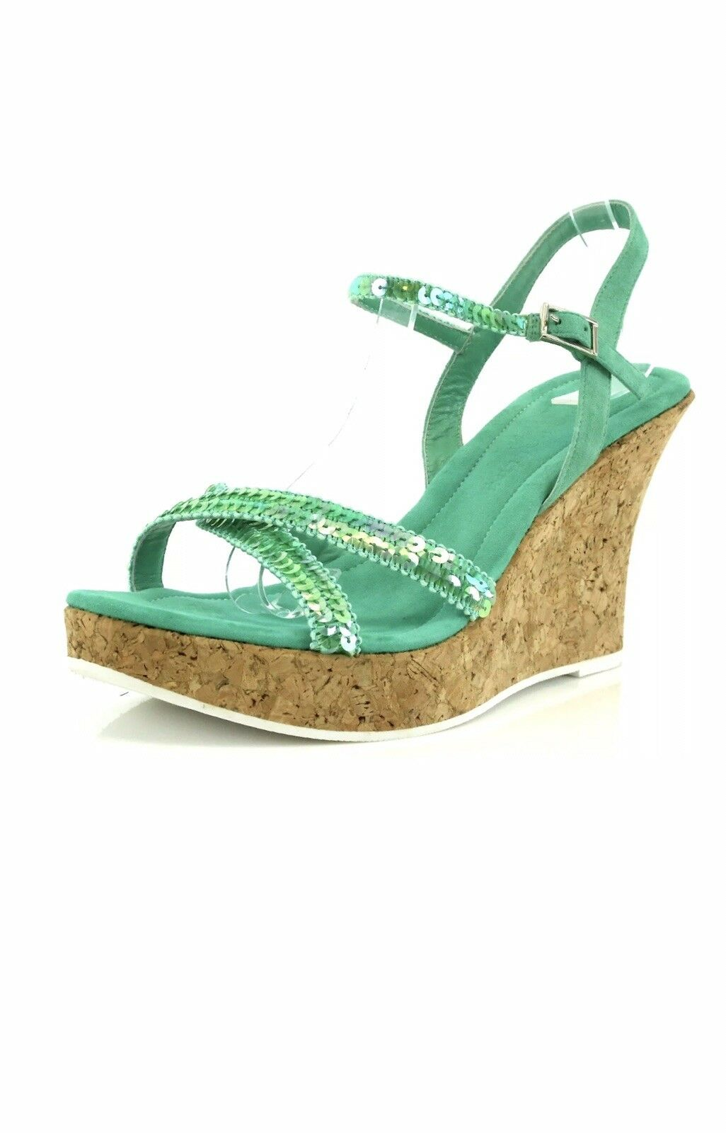 Studio Pollini ARMA Green Suede Wedge Sandals Size 40.5 EU NEW