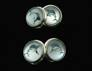 Vintage-Essex-Crystal-18K-White-Gold-Marlin-Fish-Cuff-Links