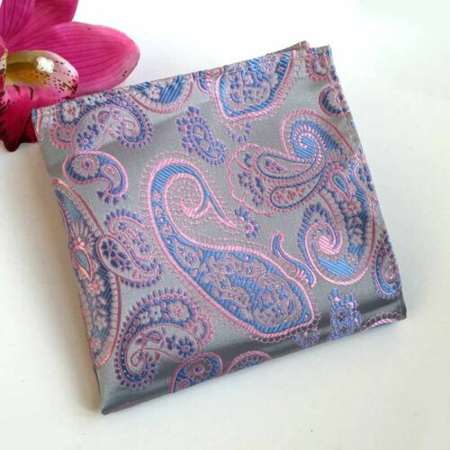 New Men/'s Handkerchief Silk Floral Paisley Jacquard Woven Pocket Square Hanky