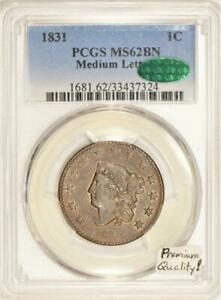 1831-Medium-Letters-Large-Cent-PCGS-amp-CAC-MS-62-BN-Premium-Quality