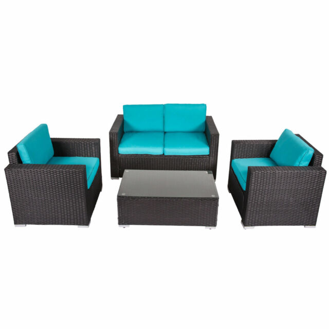 Kinbor 4-piece Outdoor Wicker Sofa Set Patio Sectional Furniture Set w/  Cushions