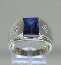 Sapphire CZs 14k White Gold Textured Design Men's Ring Size 9.75 (6.75 grams)
