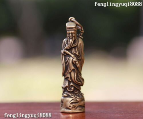 5 CM China Copper Bronze Man People Taoist Priest Drive the Devil Statue Pendant