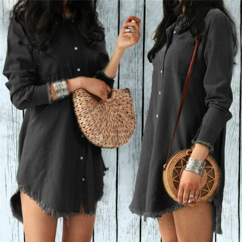 Women Denim Shirt Dress Ladies Long Sleeve Casual Turn Down Collar Lady Loose