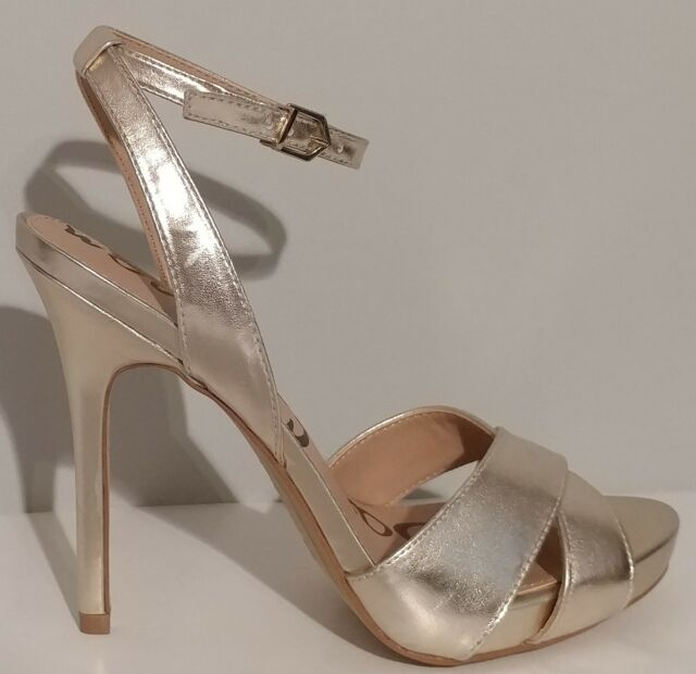 NEW!! Sam Edelman Eliza Gold Ankle Strap Sandals 5