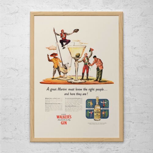 WALKERS GIN AD Classic Barware Poster Ad Mid-Century Poster Ret Retro Bar Ad