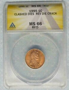 1995 Lincoln Cent-Clashed Dies/Rev Die Crack-ANACS MS66 RED-Dual Errors! -d3240