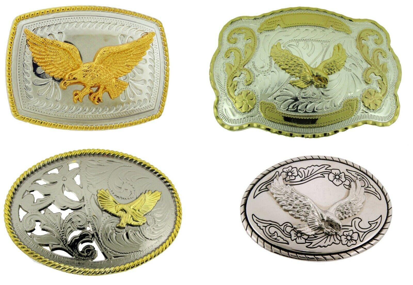 Herren Damen Eagle Gürtelschnalle Western Cowgirl Cowboy Rodeo Texas Gold Silber