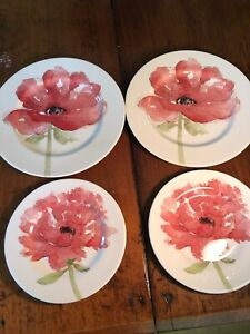 Set-Of-4-Royal-Stafford-Watercolor-Poppy-Print-Plates-2-Salad-amp-2-Dinner-Plates