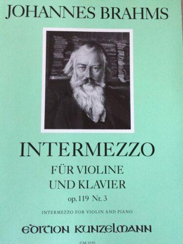 Johannes Brahms für Violine und Klavier Intermezzo Op.119 Nr.3
