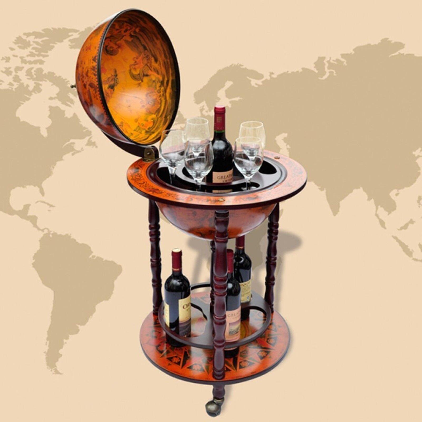 Globe Bar Wine Stand On Wheels Drinks Minibar Antique Retro Style Wood Cabinet