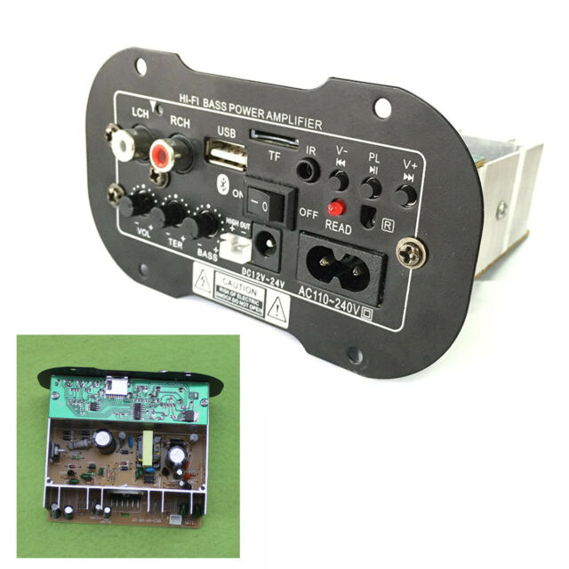 Bluetooth Car Subwoofer Hi-Fi Bass Power Amplifier Board TF USB 12V//24V//220V 30W