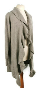 NEW-BNWT-Kenar-Size-14-2-Ply-Cashmere-Light-Grey-Long-Frilled-Cardigan-Winter