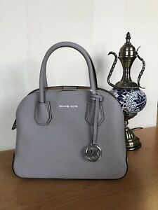 8eb5953623 Image is loading NWT-Michael-Kors-Cindy-Medium-Dome-Satchel-Pearl-