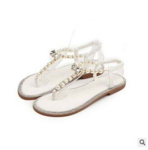 Ladies pearl beach wedding flats shoes rhinestone club sandals Comfy  X
