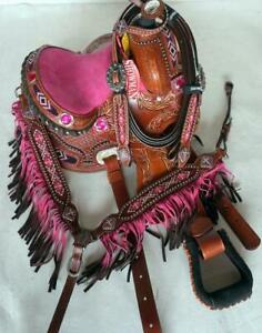 14-034-Med-Pink-seat-Western-Barrel-show-Saddle-Full-Bars-Showman-Horse-HSBP-Fringe