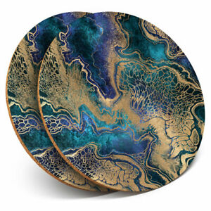 2 x Coasters - Blue Gold Marble Stone Effect Home Gift #21256