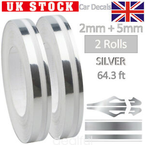 Silver Pin Striping Stripe 2x9.8M Vinyl Tape Decals Stickers Fr cars Motorcycles