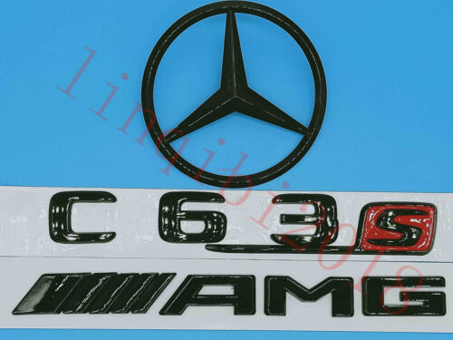 Gloss Black AMG Trunk Logo Sticker Decal Emblem Badge Package for W205 C63S C300