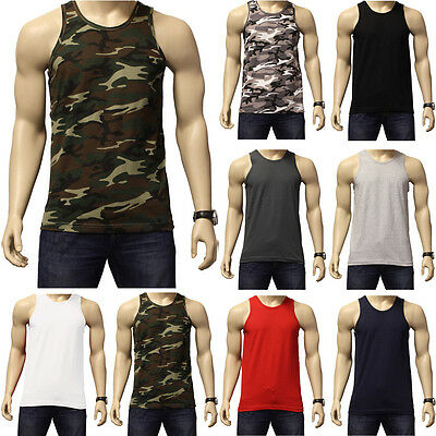 Men's Plain 100% Cotton Tank Top A-Shirt Muscle Camo Wife Beater Undershirt