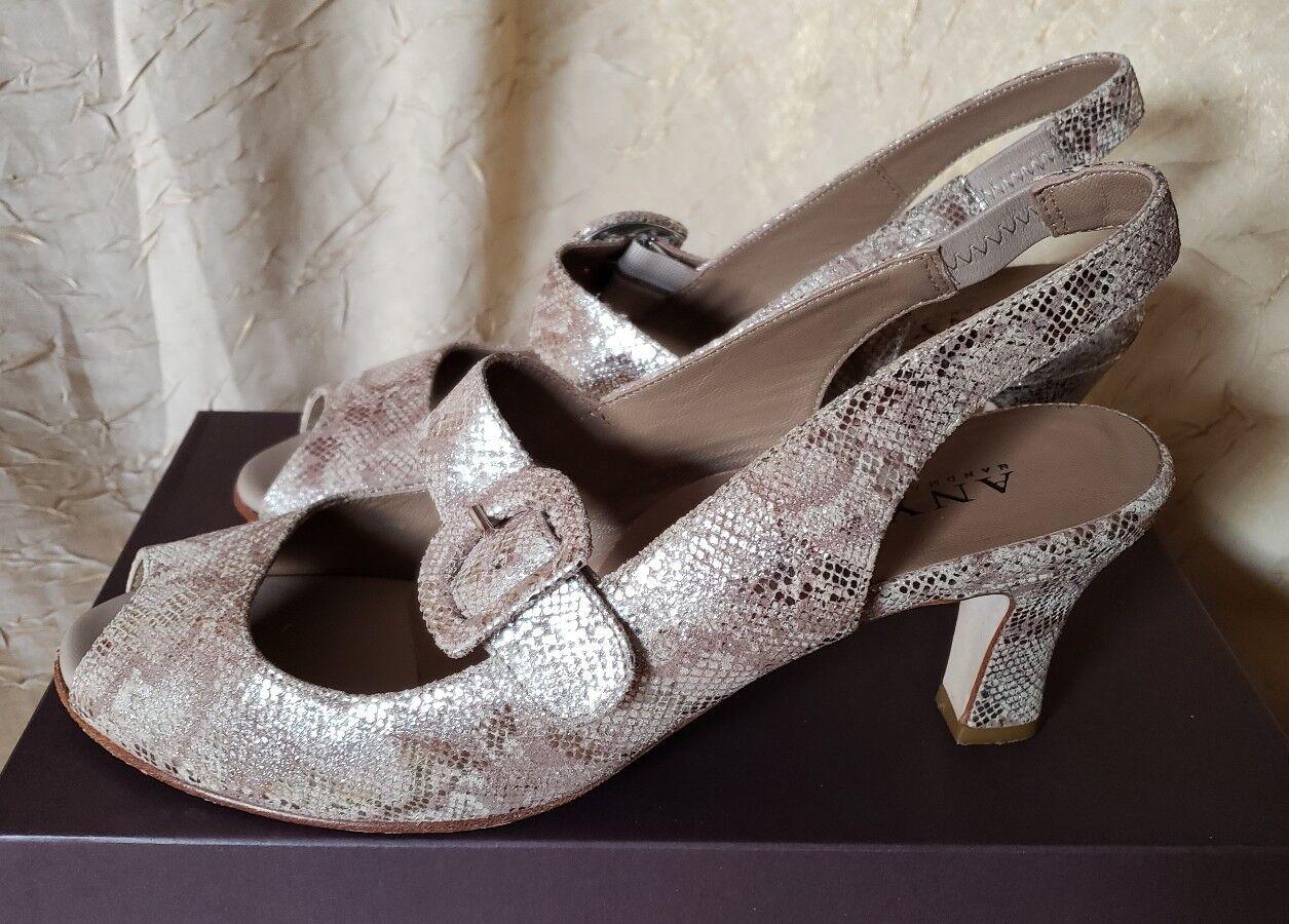 Anyi Lu Tulipán  425 Beige Dorado Dorado Dorado Maryjane Bombas Zapatos Piel De Serpiente 40 9 9.5 d1cfb3